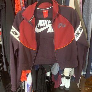Nike burgundy cropped track jacket